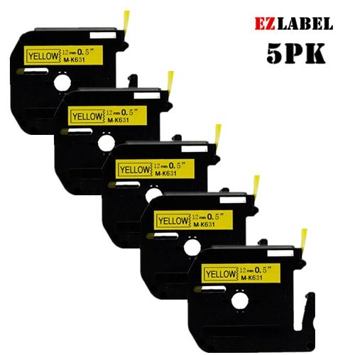 5 PACK EZLabel MK631 M-K631 black on yellow compatible with P-Touch label maker