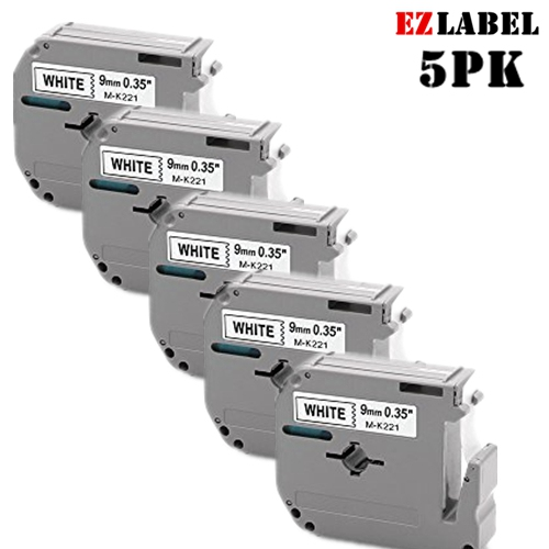 5 PACK EZLabel MK221 M-K221 black on white compatible with P-Touch label maker