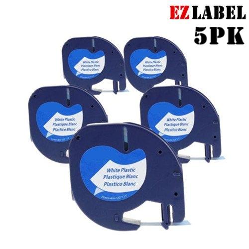 5 PACK EZLabel Comaptible LetraTag Tape 91331 12mm Black on White Plastic Tape for DYMO Label Maker
