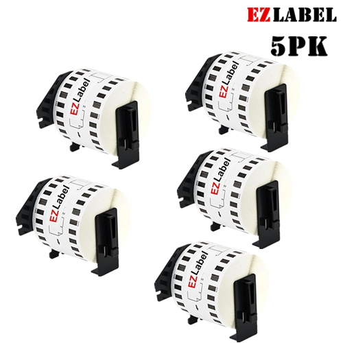"""5PK EZLabel DK2205 Compatible Continuous White Tape with Cartridge Holder 2.4"""" x 100'"""