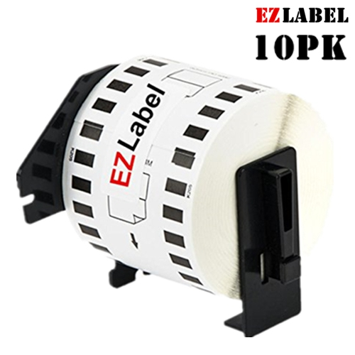 """10PK EZLabel DK2205 Compatible Continuous White Tape 2.4"""" x 100' with Cartridge Holder"""