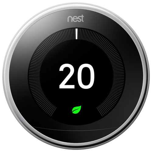 Google Nest Wi-Fi Smart Learning Thermostat 3rd Generation - Polished Steel T3019CA