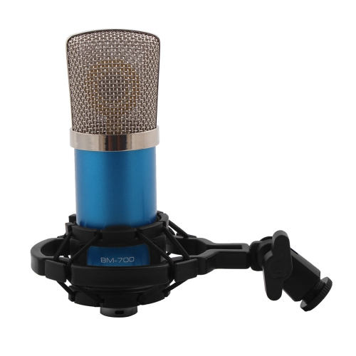 BM-700 3 5mm Wire Sound Recording Microphone Blue for KTV Singing
