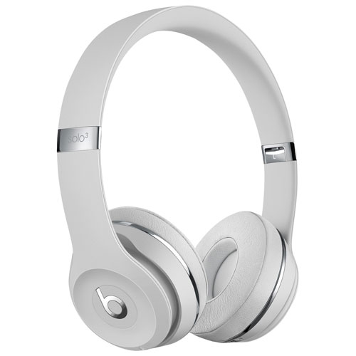 Beats by Dr. Dre Solo3 On-Ear Sound Isolating Bluetooth Headphones - Satin Silver