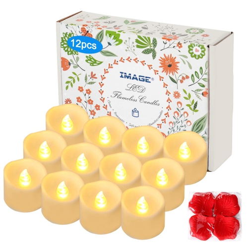 12pcs Battery Operated Tea Lights With Timer Flameless Flickering