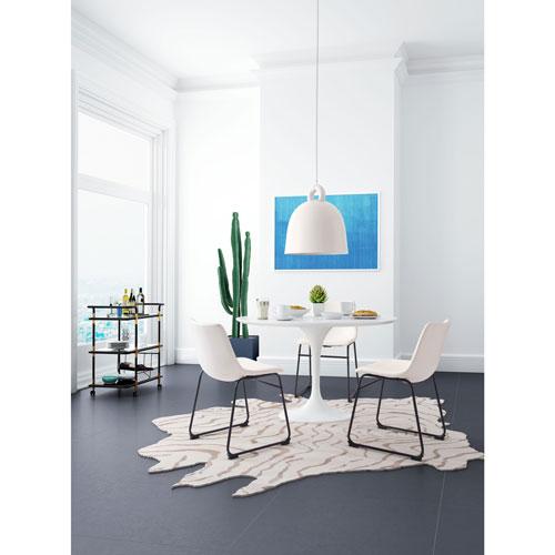 Chaise de salle à manger moderne en similicuir Willy - Blanc vieilli ...