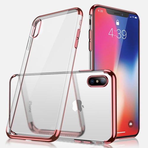 PANDACO Rose Gold Trim Clear Case for iPhone Xs Max