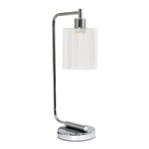 Simple Designs Bronson Antique Style Industrial Iron Lantern Desk Lamp with Glass Shade, Chrome