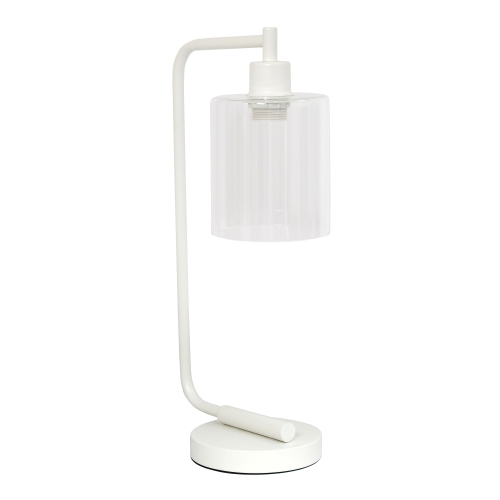 Simple Designs Bronson Antique Style Industrial Iron Lantern Desk Lamp with Glass Shade, White