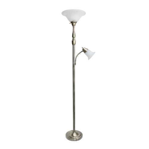 Elegant Designs 2 Light Mother Daughter Floor Lamp with White Marble Glass, Antique Brass