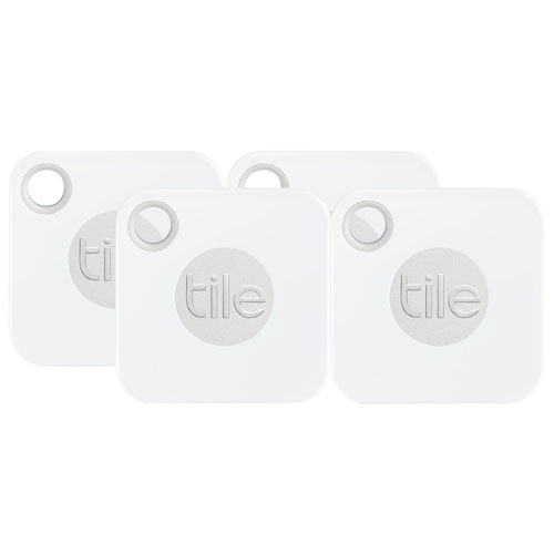Tile Mate (2018) Bluetooth Item Tracker - 4 Pack - White