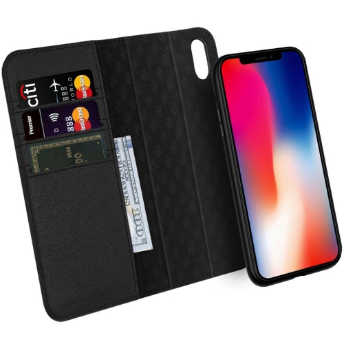 best sneakers 4f79a d3b66 iPhone Xs Case, iPhone X Case ZOVER Detachable Genuine Leather Wallet Case  Support Wireless Charging Magnetic Car Mount Holder