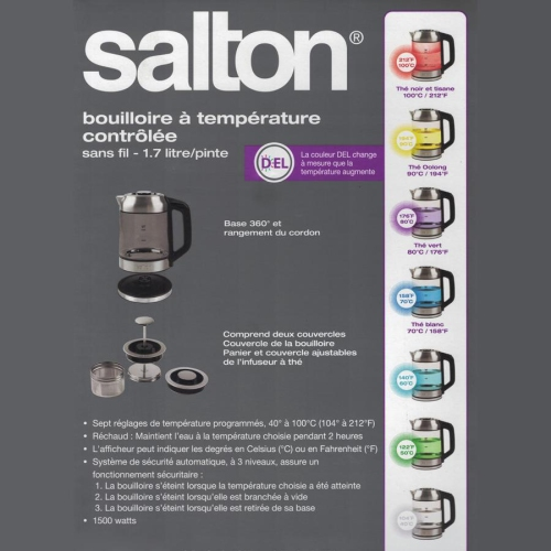 Salton GK1758 Cordless Electric Jug Kettle 1 7L with LED Color Changing  Temperature and Tea Steeper