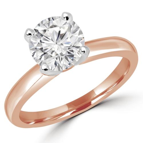 Bague de fiançailles en Or rose 14 carats avec 0.7 CT Diamant Rond G-H (MD180009)- Taille 4 à 9