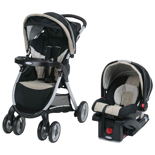 Graco FastAction Lightweight Stroller With SnugRide Click Connect 30LX Infant Car Seat