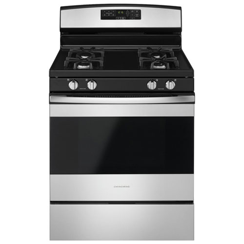 """Amana 30"""" 5.0 Cu. Ft. Self-Clean Freestanding Gas Range - Black-on-Stainless"""