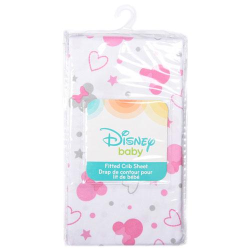 Drap Housse En Polyester Minnie Mouse Bebe De Disney Blanc Imprime