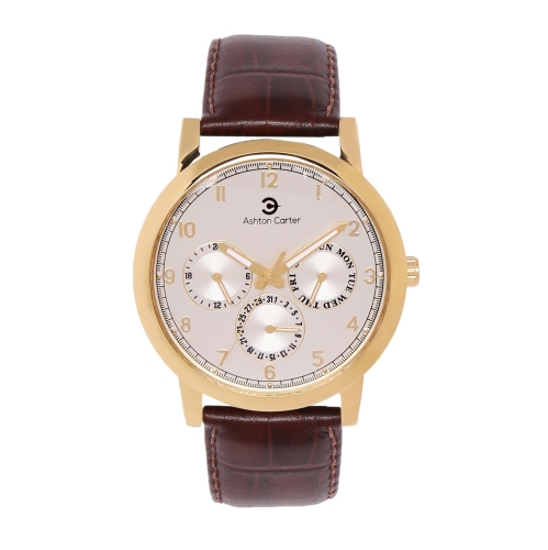 6c142f19f90 Ashton Carter Multi Function Gold   Brown Watch - AC-1007 - Online Only
