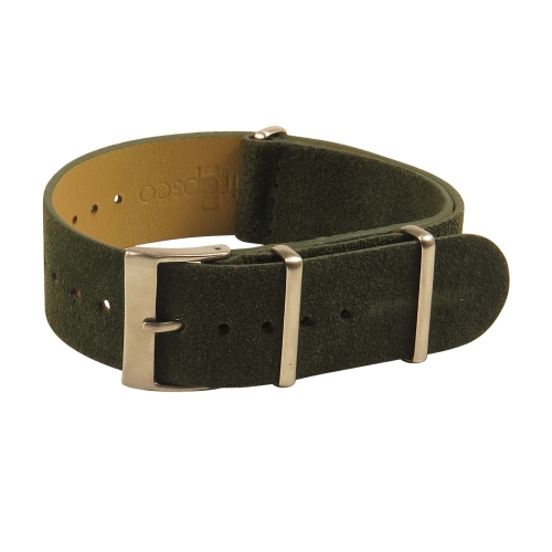 StrapsCo Suede Vintage 2-Ring Leather Watch Band Strap - 20mm Green