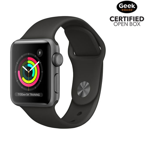 Apple Watch Series 3 38mm Space Grey Aluminium Case with Black Sport Band - Open Box
