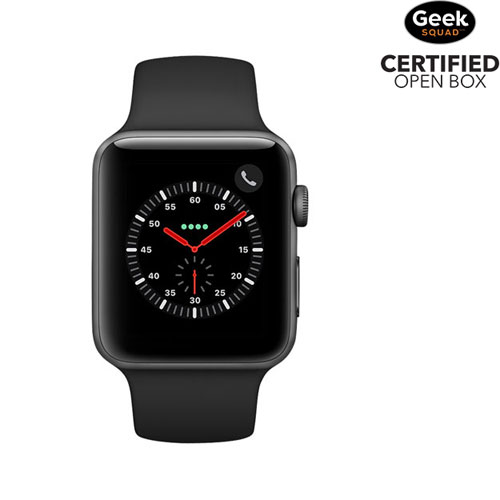 reputable site 185d2 9c3e8 Apple Watch Series 3 (GPS + Cellular) 42mm Space Grey Aluminium Case with  Black Sport Band -Open Box