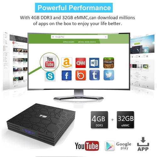 Android TV Box 9 0, K4 S Android Box with 4GB RAM 32GB ROM Quad-Core