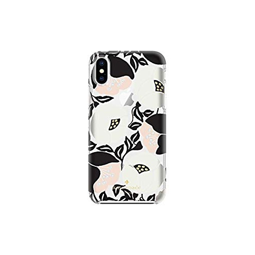 100% authentic 209c0 45fb3 kate spade new york KSIPH-076-NPBGC Protective Hardshell Case for iPhone X  - Nouveau Poppy Black Gold Foil Gems Clear