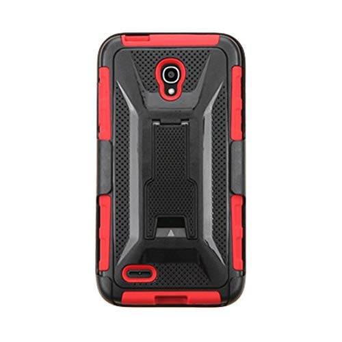 classic fit 8df52 0c5eb Asmyna Armor Protector Phone Case with Stand for ALCATEL 7046T (One Touch  Conquest) - Retail Packaging - Black