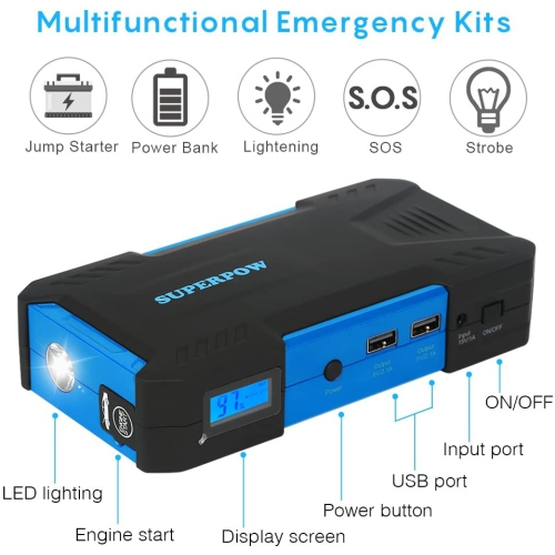 Car Jump Starter Up To 4 0l Auto Battery Charger And 12000mah Portable External Battery Charger 12v Output 400a Peak Current