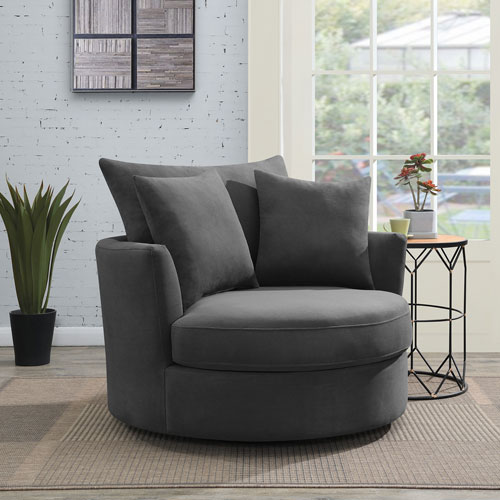 Luca Polyester Swivel Accent Cuddle Chair Charcoal