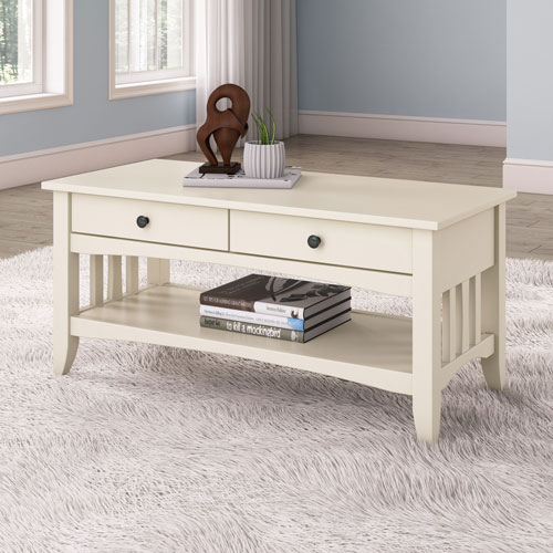 White Reclaimed Wood Coffee Table With Drawers: Crestway Traditional Rectangular Coffee Table With Drawers