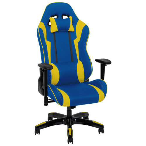 Outstanding Corliving Ergonomic Faux Leather Gaming Chair Blue Yellow Gmtry Best Dining Table And Chair Ideas Images Gmtryco