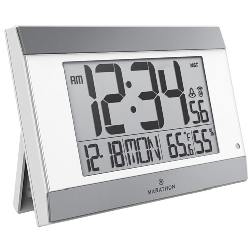 Marathon Digital Wall Clock - White/Silver