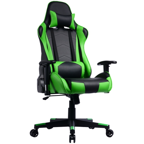 GamingChair Ergonomic PU Leather Racing Gaming Chair with Reclining Backrest & Adjustable Armrests
