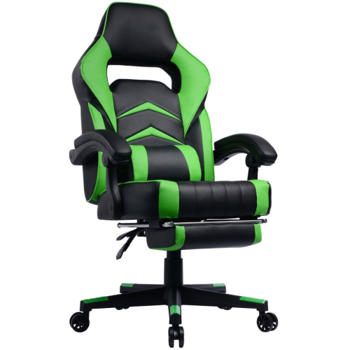 Marvelous Gamingchair Ergonomic Pu Leather Racing Gaming Chair With Footrest Reclining Backrest Green Creativecarmelina Interior Chair Design Creativecarmelinacom