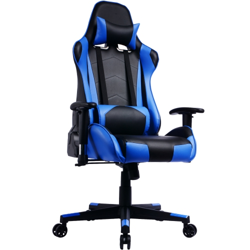 Gamingchair Ergonomic Pu Leather Racing Gaming Chair With Reclining Backrest Adjustable Armrests Blue Best Buy Canada