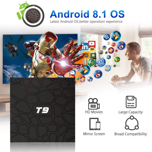 Android 8 1 TV Box, 4GB RAM + 32GB ROM RK3328 Quad-core Android Box, T9  Supports 2 4G Wi-Fi Bluetooth 4 1 USB 3 0