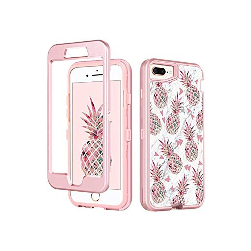 iPhone 8 Plus Case iPhone 7 Plus Case,GUAGUA Pink Pineapple White Marble  Glossy Cover Girls Women Hybrid 3 in 1 Hard PC Soft T