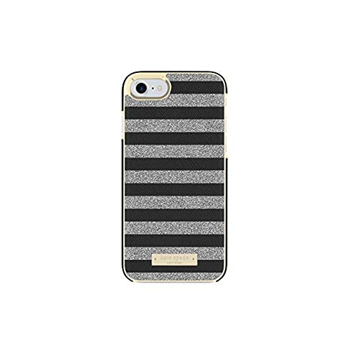 detailed look fd427 94172 Kate Spade New York Wrap Glitter Stripe Case, iPhone 8, Black Saffiano  Silver Glitter