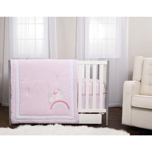 Market House Baby 3 Piece Crib Bedding Set Pink Unicorn Crib