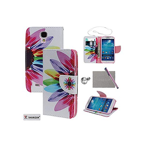 watch bcea7 51ae2 Case for Samsung S4, xhorizon TM FLK Simple Floral Beautiful Colorful  Flower Magnetic Flip Leather Case for Samsung Galaxy S4