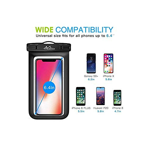 watch 56635 dcb1f MoKo Waterproof Cell Phone Bag, Universal Waterproof Cellphone Case Pouch  Dry Bag Lanyard Compatible iPhone X Xs Xr Xs Max, 8