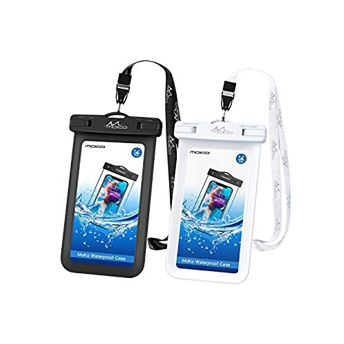 online store 7d314 26fcd Waterproof Cell Phone Bag, MoKo Waterproof Case Pouch Dry Bag with Lanyard  Compatible with iPhone X Xs Xr Xs Max, 8 7 6S Plus,