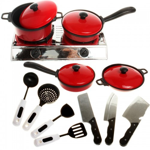 13pcs Cook Ware Toy House Kitchen Pretend Play Utensils Cooking Pots