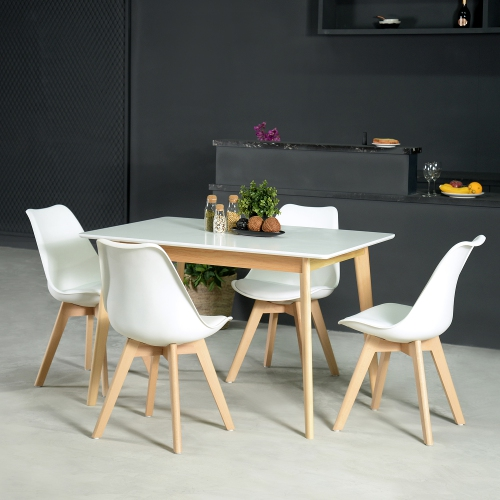 26bb2b5980e5 Rustic Mid-Century Modern 6-Seating Dining Table in White and Natural Wood    Dining Tables - Best Buy Canada