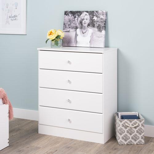 Astrid Transitional 4 Drawer Dresser Crystal White Dressers