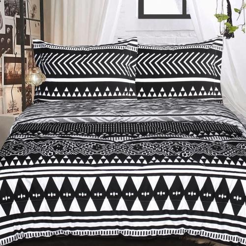 Lauren Taylor Chloe Coll Tribal Amal Resersible Comforter Set White Black Comf 80x86 203x218cm Best Buy Canada
