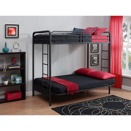 Dhp Contemporary Bunk Bed Twin Over Futon Black Kids Beds