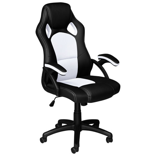 Fantastic Brassex Eclipse Ergonomic Vinyl Gaming Chair Black White Dailytribune Chair Design For Home Dailytribuneorg