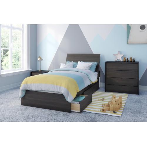 Celeste 4 Piece Twin Size Bedroom Set Ebony Black Bedroom Sets